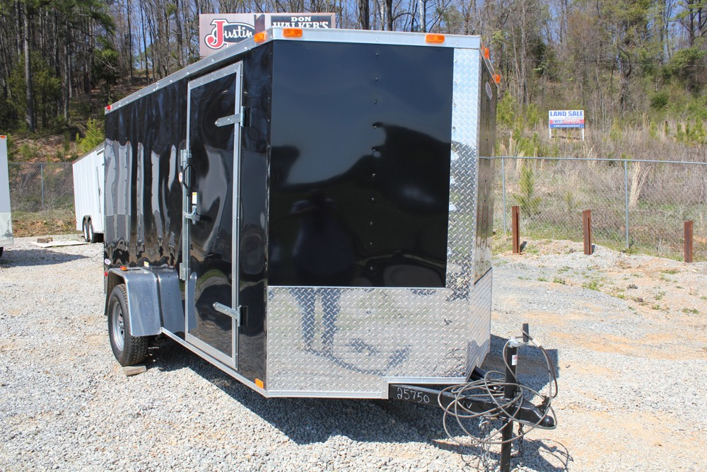 Car Ramps For Sale >> 7x14 Black Tandem Axle Enclosed Trailer For Sale