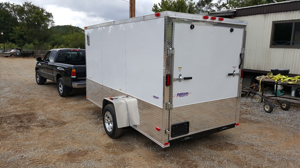 6x12 White Enclosed Trailer Motorcycle Package