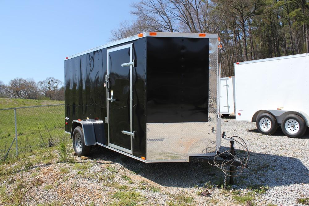 7x14 Black Tandem Axle Enclosed Trailer For Sale