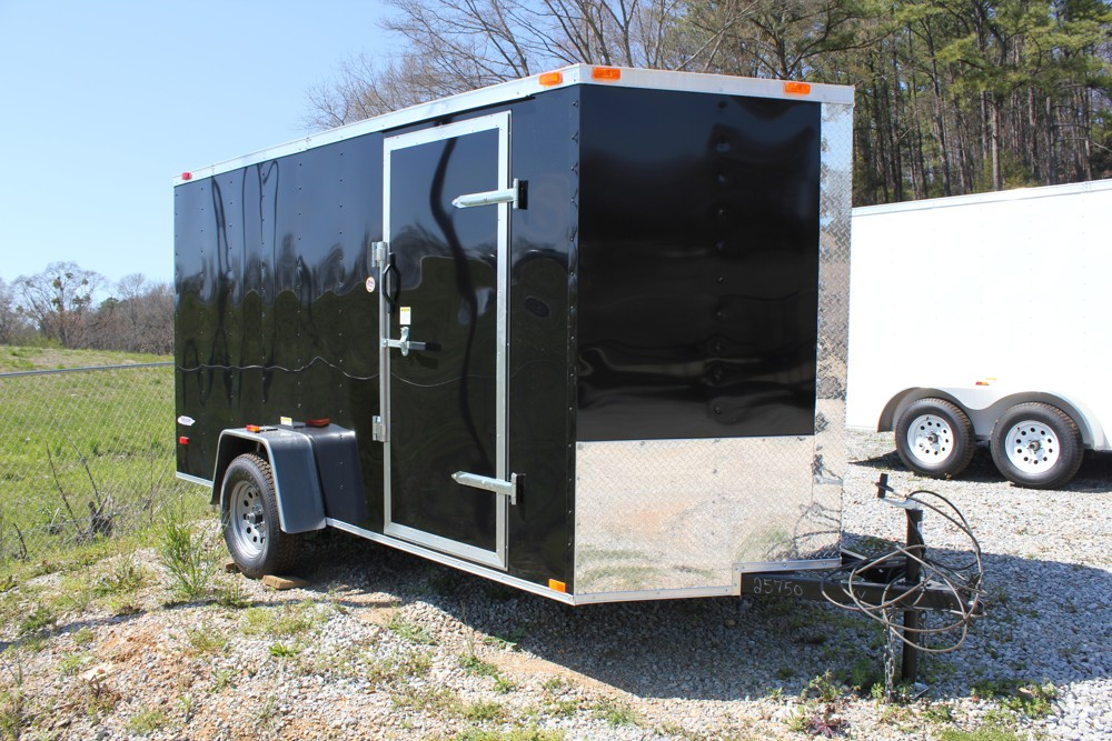 7x14 Black Tandem Axle Enclosed Trailer For Sale