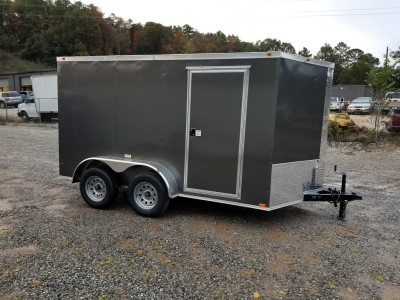 7x12 Charcoal Enclosed Tandem Axle Trailer