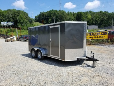 7x14 Charcoal Enclosed Tandem Axle Trailer