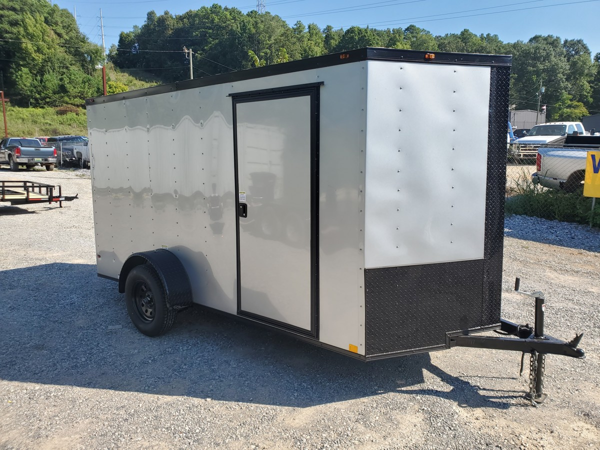 6x12 Black Out Silver Enclosed Trailer