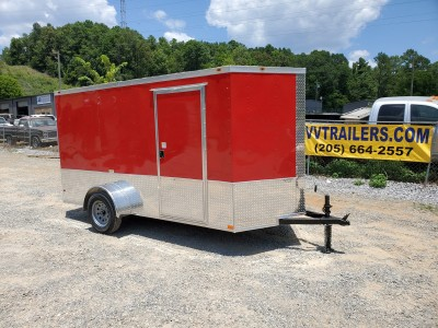 6x12 Red Enclosed Trailer