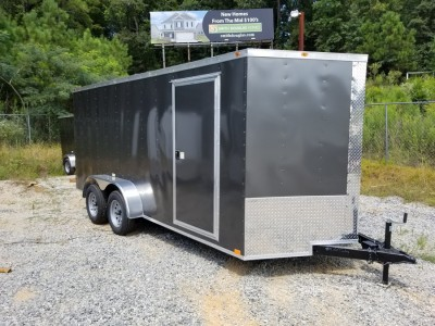 7x16 Charcoal Enclosed Tandem Axle Trailer