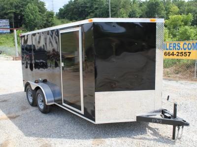 7x14 Enclosed Tandem Axle Trailer Black